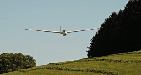 aircraft, meadow, hillside, blue sky, grass, landscape, glider, outdoor, tree