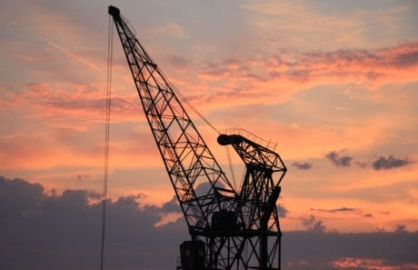 sunset, sky, industry, crane, construction, industrial, steel