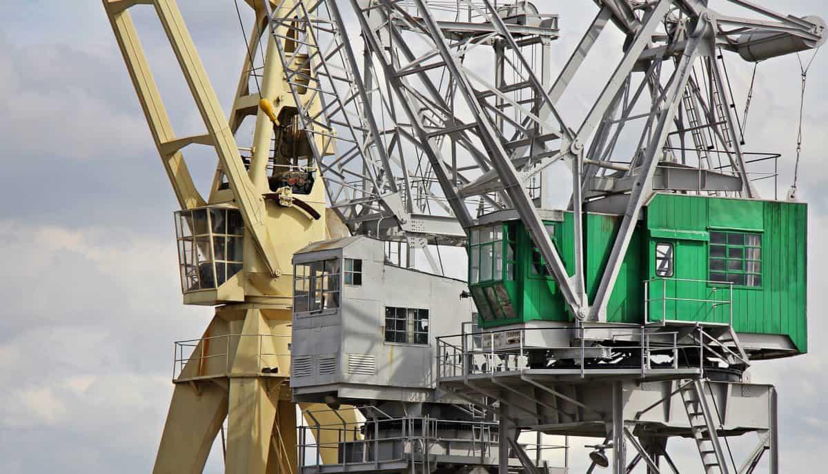photomontage, monochrome, high, crane, industry, sky, steel, equipment, industrial