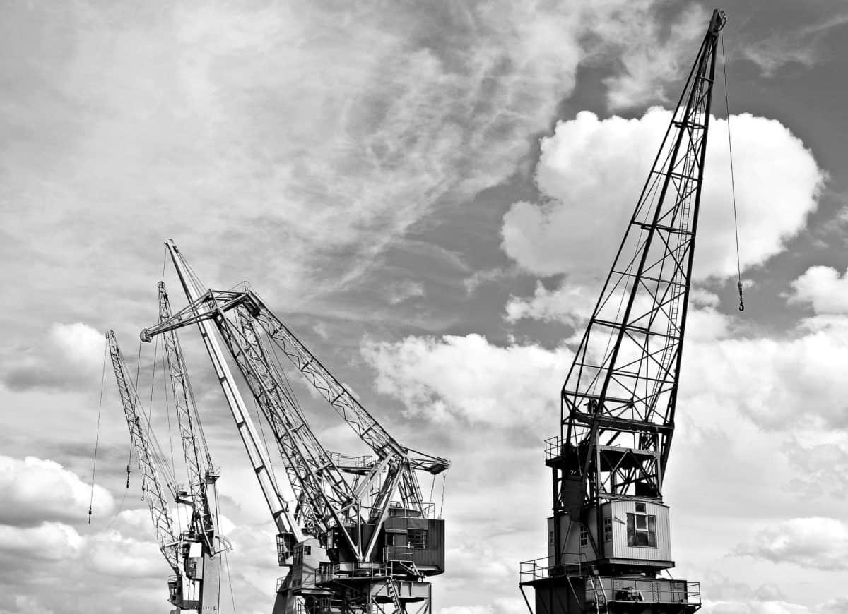 stroj, žeriav, vozidla, priemysel, prístav, neba, stavebné
