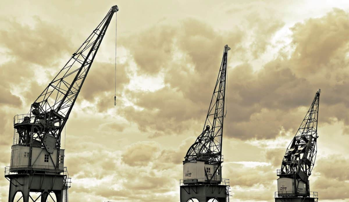 sepia, monochrome, sky, steel, technology, machine, industry, crane, construction