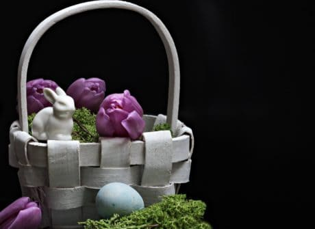 flower, basket, Easter egg, still life, decoration, holiday