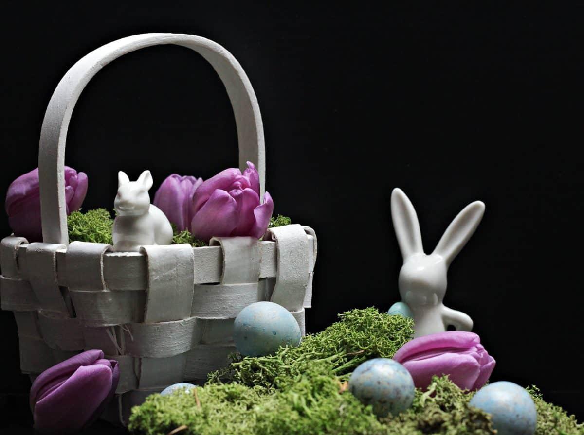 Easter, egg, flower, basket, moss, rabbit, figure