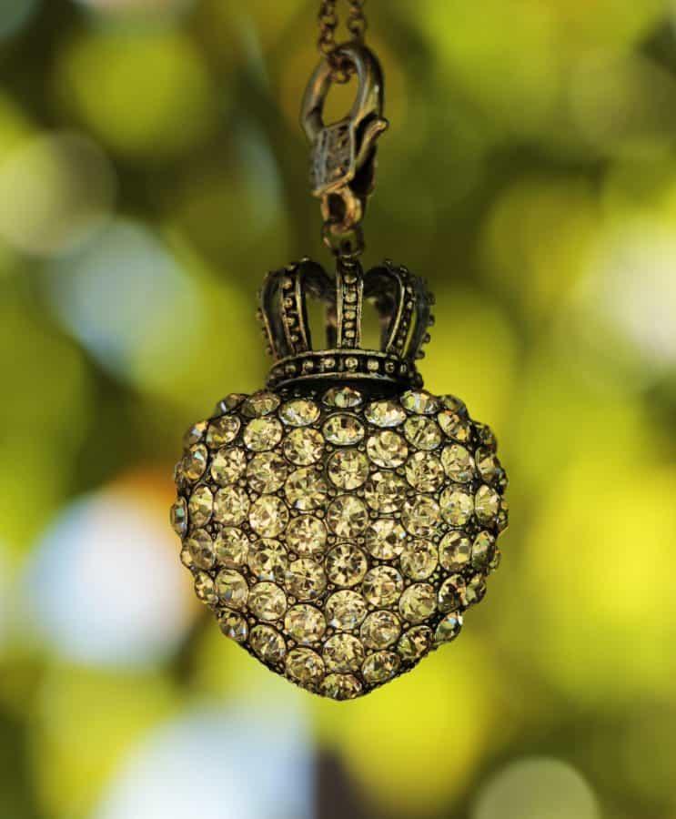 diamond, heart, crown, metal, glass, reflection