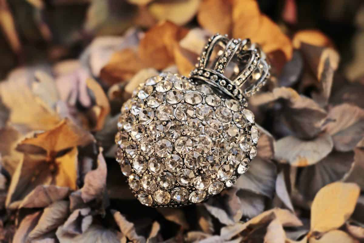 Blatt, Glas, Reflexion, Krone, Schmuck, Diamanten, Herbst