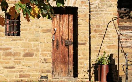 arkitektur, vägg, gammal, hus, exteriör, fasad, tegelvägg, textur, dörr