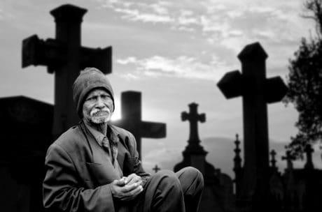 uomo, cimitero, Croce, religione, monocromatico, persone, Chiesa, spiritualità