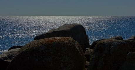 плаж, вода, пейзаж, океан, здрач, залез, морския бряг, море