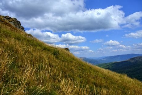 mountain, grass, sky, landscape, nature, tree, outdoor, hill, national park, hilltop