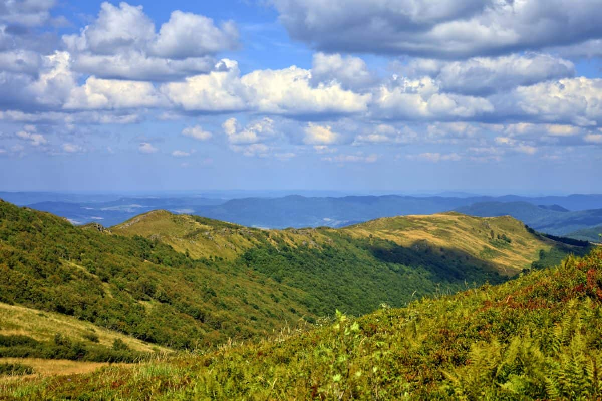 mountain, hilltop, cloud, landscape, blue sky, nature, outdoor, grass