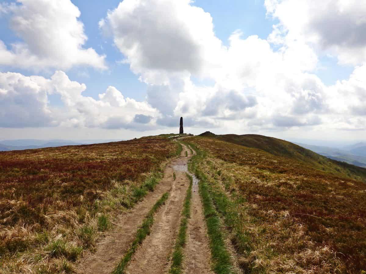 road, landscape, blue sky, nature, knoll, field, grass
