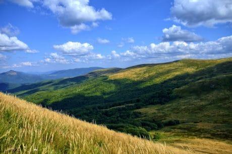 colline, paysage, ciel bleu, nature, herbe, champ, montagne, outdoor, nuage