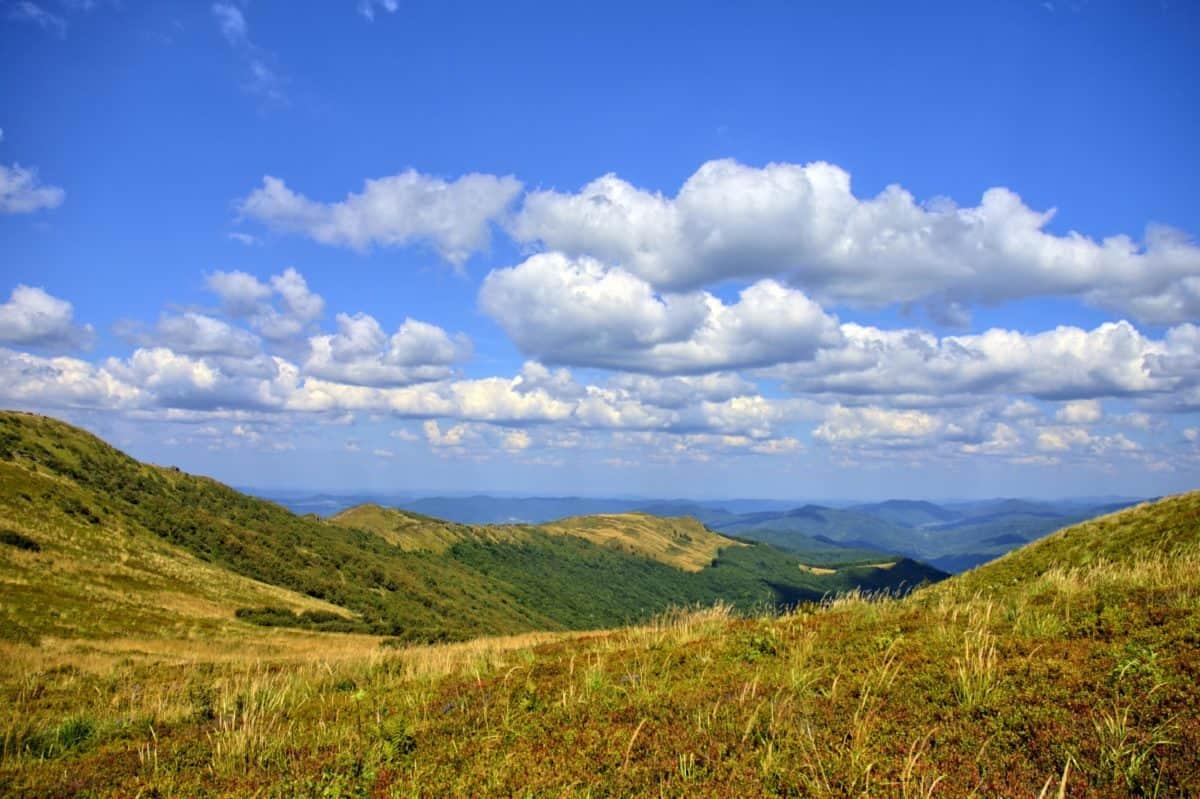 hill, sky, landscape, hilltop, nature, mountain, grass, field, summer