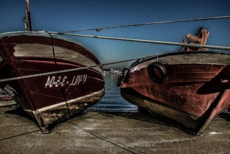 vehicle, boat, ship, wreck, sea, sky, outdoor, ground