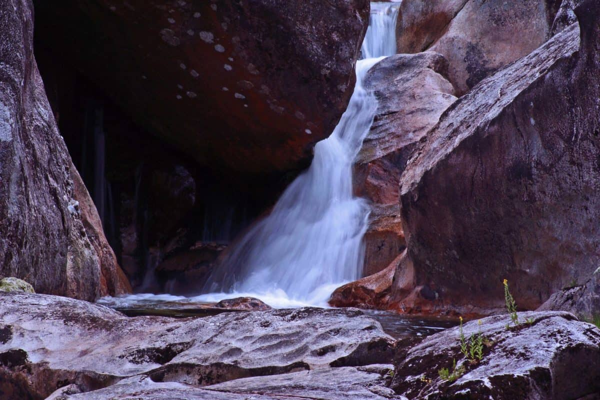 waterfall, cave, stream, water, nature, river, landscape, stone