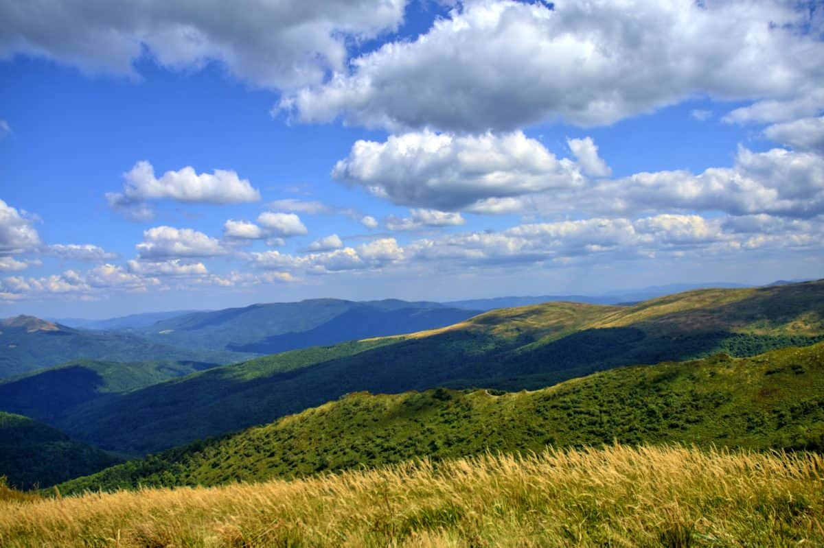 tepe, dağ, manzara, Doğa, gökyüzü, çim, alan, bulut, çayır