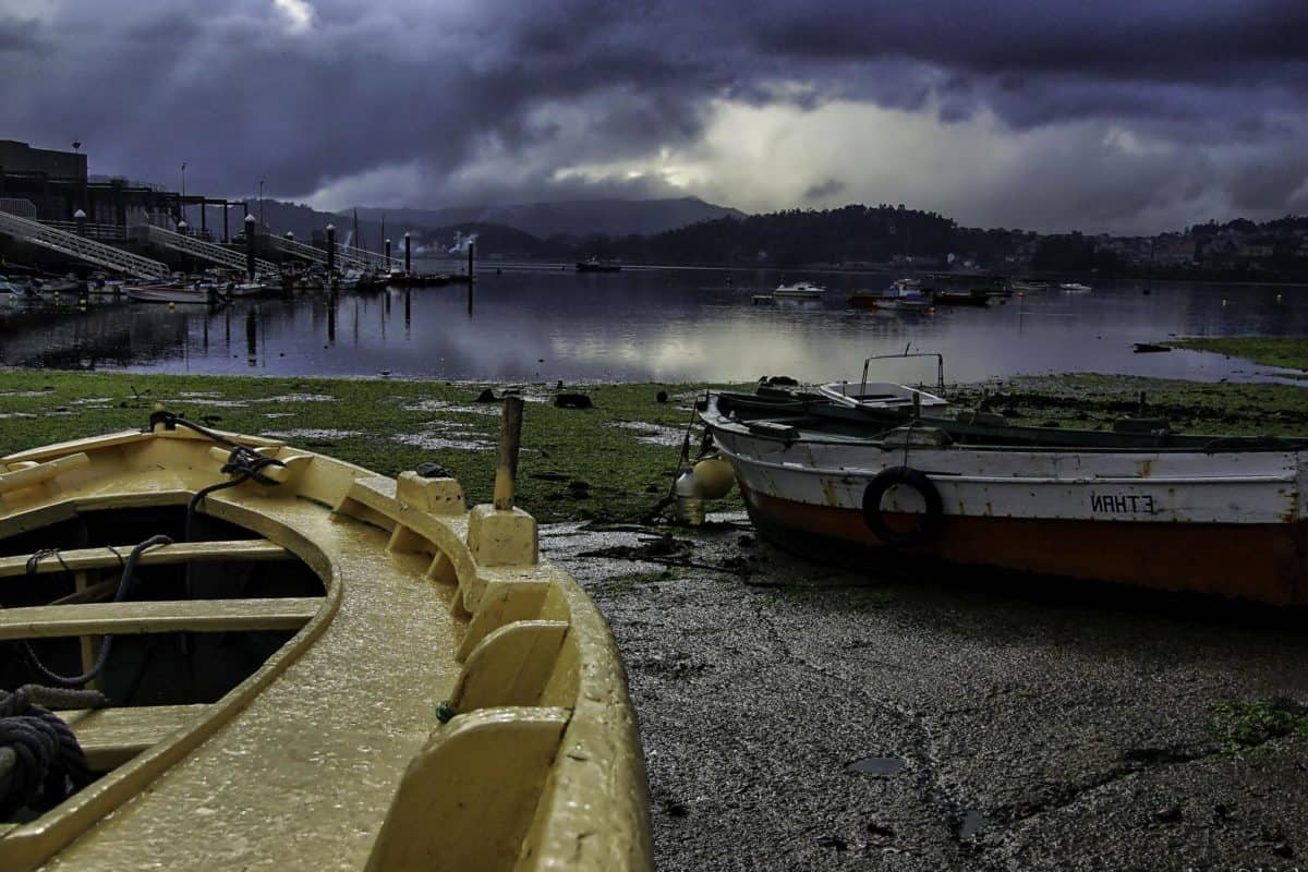 naplemente, alkonyat, tengerpart, víz, csónak, hajó, ég, kültéri, őrölt