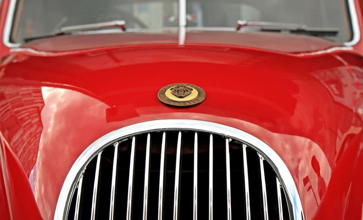 classic, automotive, chrome, retro, vehicle, headlight, red car