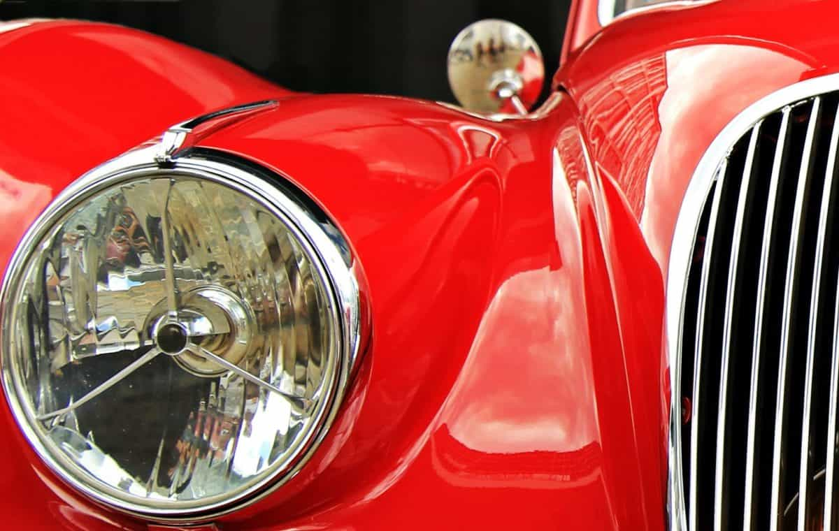 headlight, red car, paint, chrome, vehicle, classic, automotive