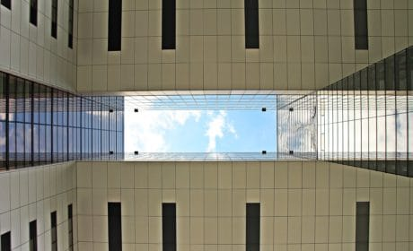 building, sky, city, architecture, exterior, exterior, blue sky, shape, reflection, modern, wall