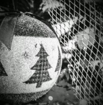 Navidad, monocromo, objeto, regalo, esfera, decoración, material