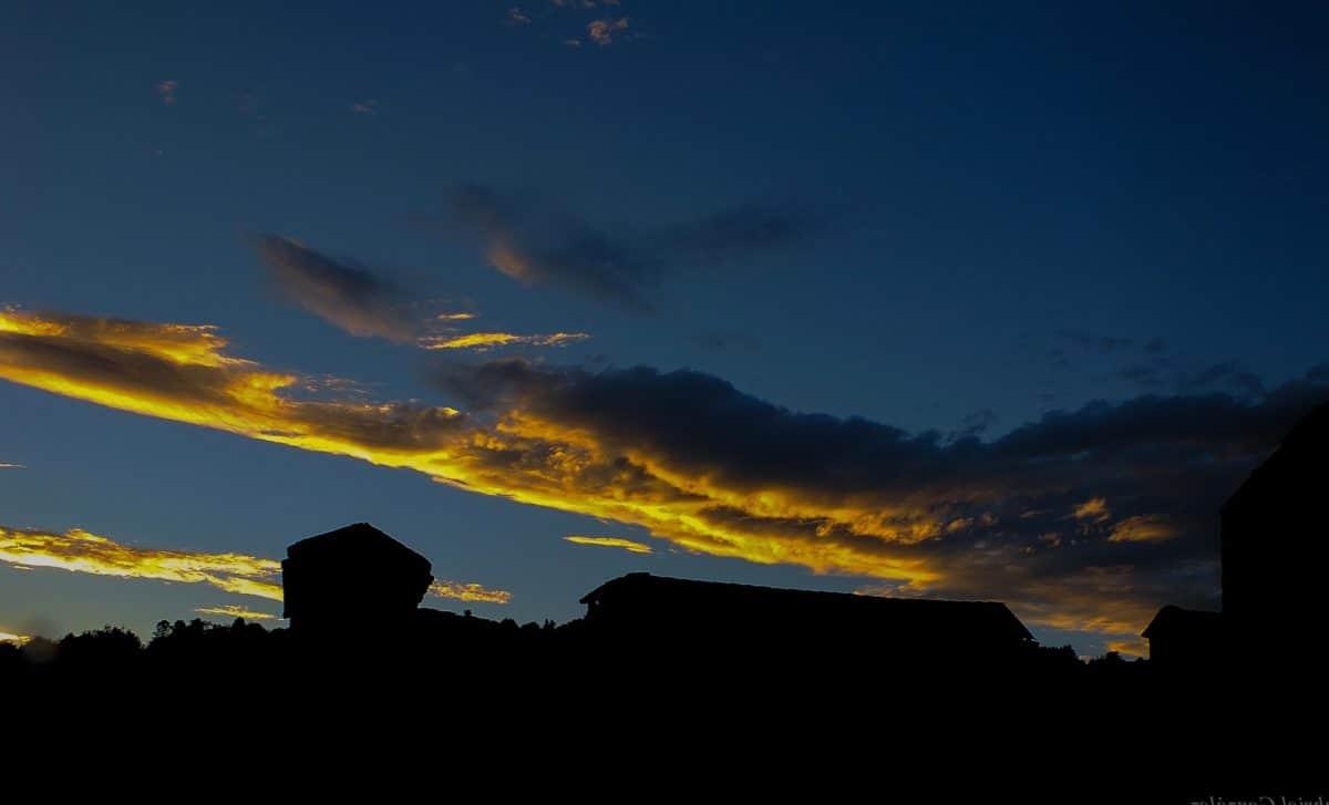 silhouette, backlit, dusk, sky, sunset, dawn, landscape, sun