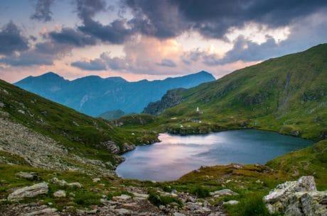 bjerg, landskab, natur, sø, vand, sky, floden, udendørs