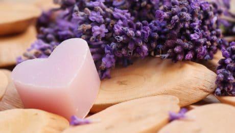 zeep, stilleven, decoratie, hart, liefde, romantiek, bloem, Lila