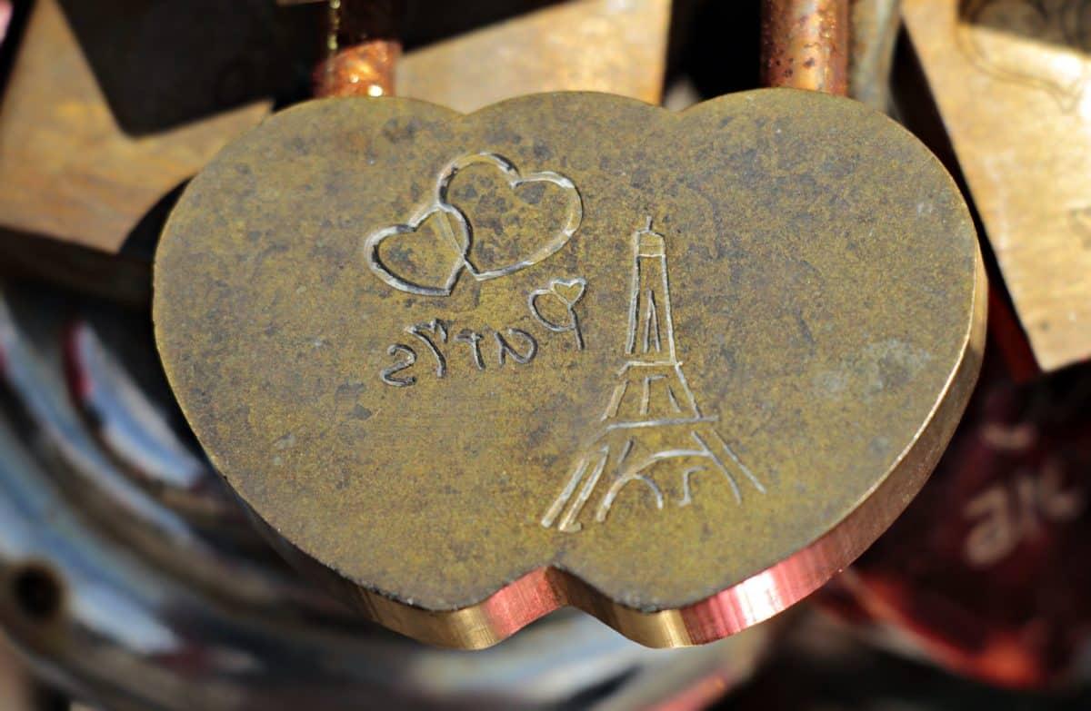 logam, jantung, objek, menara, cinta, Paris, romance, logam