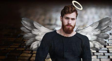 Fotomontaż, anioł, człowiek, portret, wąsy, przystojny, stawić czoło, broda, skrzydło