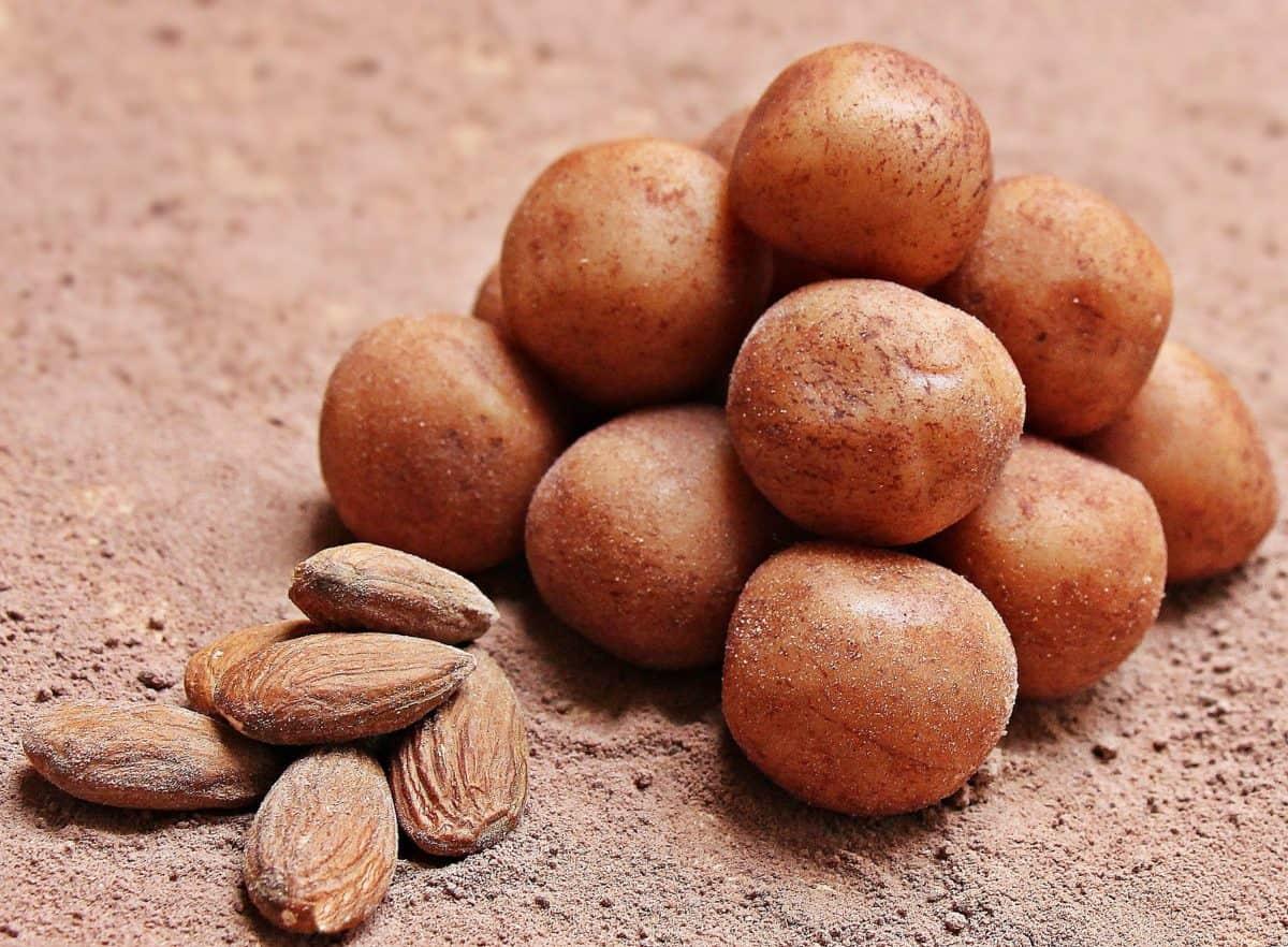 semená, potraviny, obilie, výživa, mandle, hnedá