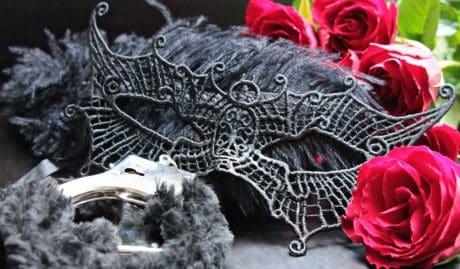 fleur, rose, masque, métal, menottes, Romance