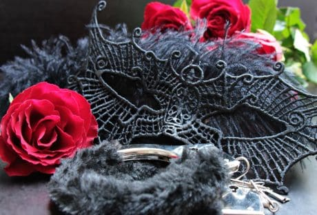 metal, handcuffs, romance, flower, rose, mask