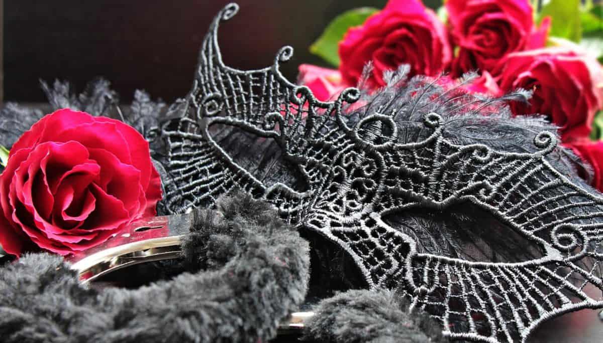 Fell, Metall, Handschellen, Blume, Rose, Maske, Romantik