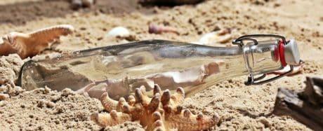 бутылка, пляж, природа, песок, стекло, на улице, дневной свет, тень