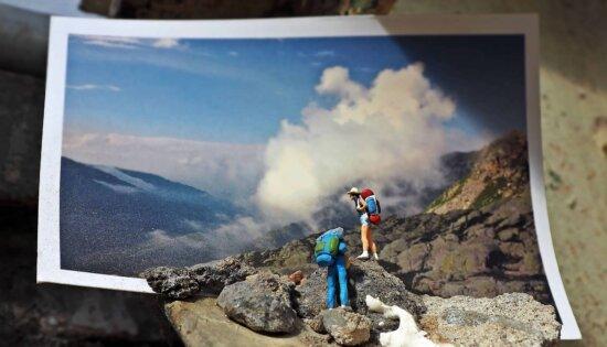 photo studio, photography, man, mountain, hiker, sky, rock, valley, landscape