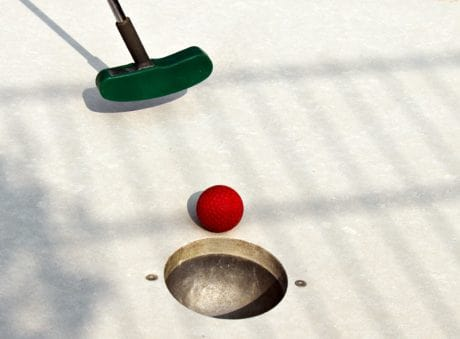hole, shadow, sport, golf, red ball, entertainment, game, outdoor, shadow