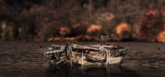 vieux, bateau, eau, lac, côte, nature, lumière du jour