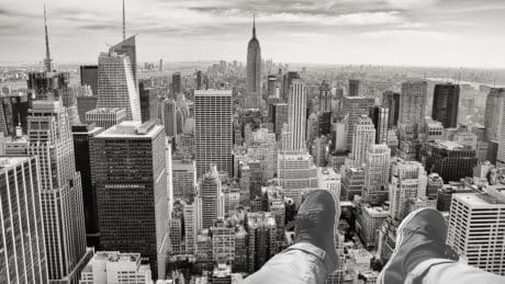 photomontage, monochrome, shoe, city, cityscape, urban, architecture, downtown, tower, landmark