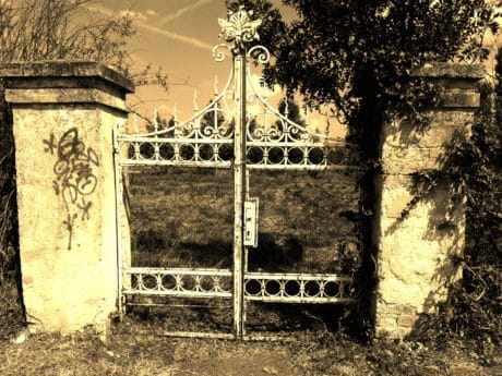 old, fence, cast iron, material, object, sepia, structure, outdoor