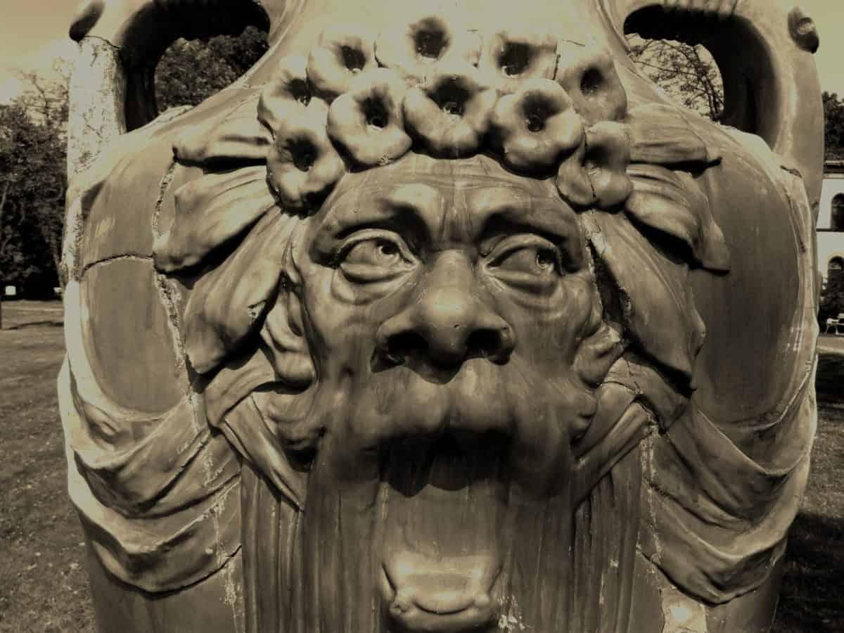 Skulptur, Sepia, Schwarzweiß, Vase, Kunst, Statue, antike, Architektur, Stein
