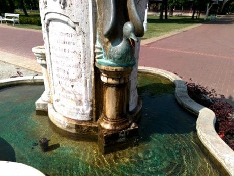 fountain, old, outdoor, bronze, object, landmark, water