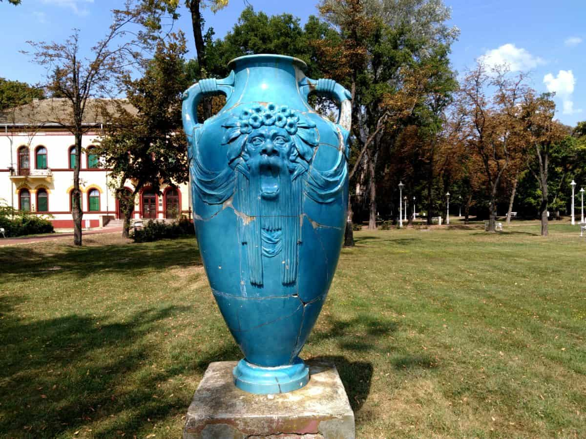 pottery, art, sculpture, blue, vase, object, tree, grass, outdoor, sky