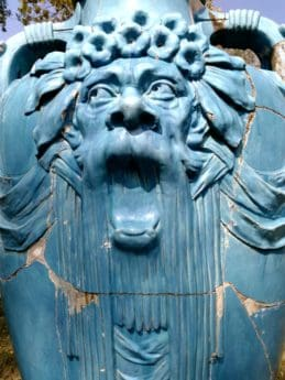 statue, religion, art, sculpture, mask, blue, object, ancient
