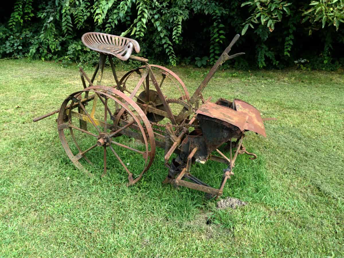 material, old, cast iron, grass, garden, summer, carriage, tool, tree, outdoor