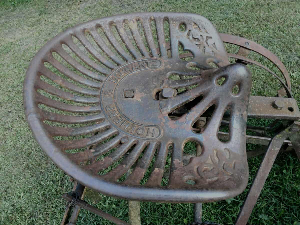cast iron, old, steel, object, material, old, tool, grass, outdoor