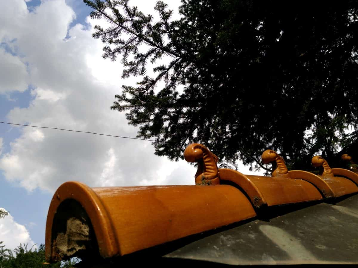 roof, rooftop, art, ceramic, tree, vehicle, snowplow, outdoor