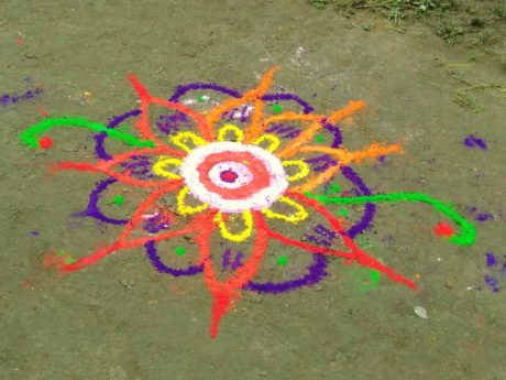 Rangoli, art, craie, couleurs, holi, coloré, au sol, en plein air