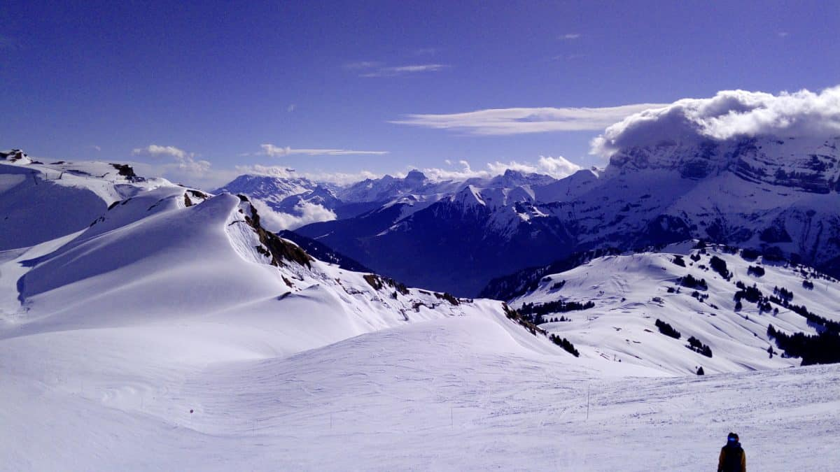 Switzerland, mountain peak, blue sky, cold, mountain, winter, snow, glacier