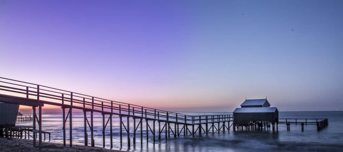 pier, beach, sky, ocean, sunset, sea, water, dusk, dawn, bridge